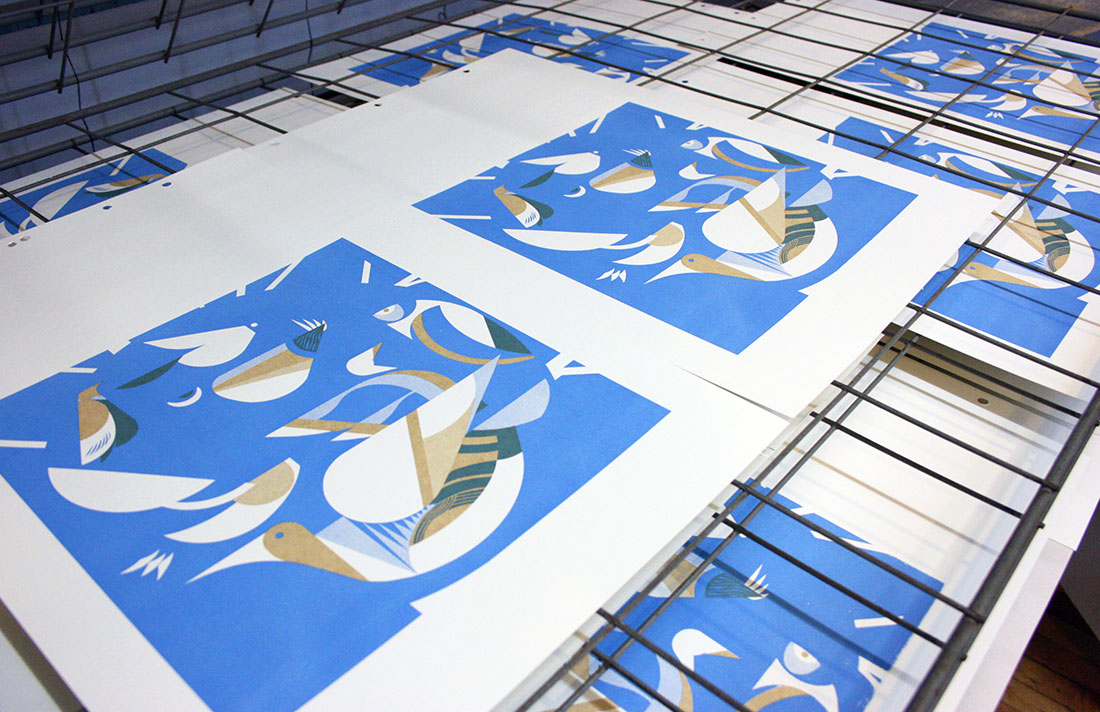blue moon brewing illustration screen printing