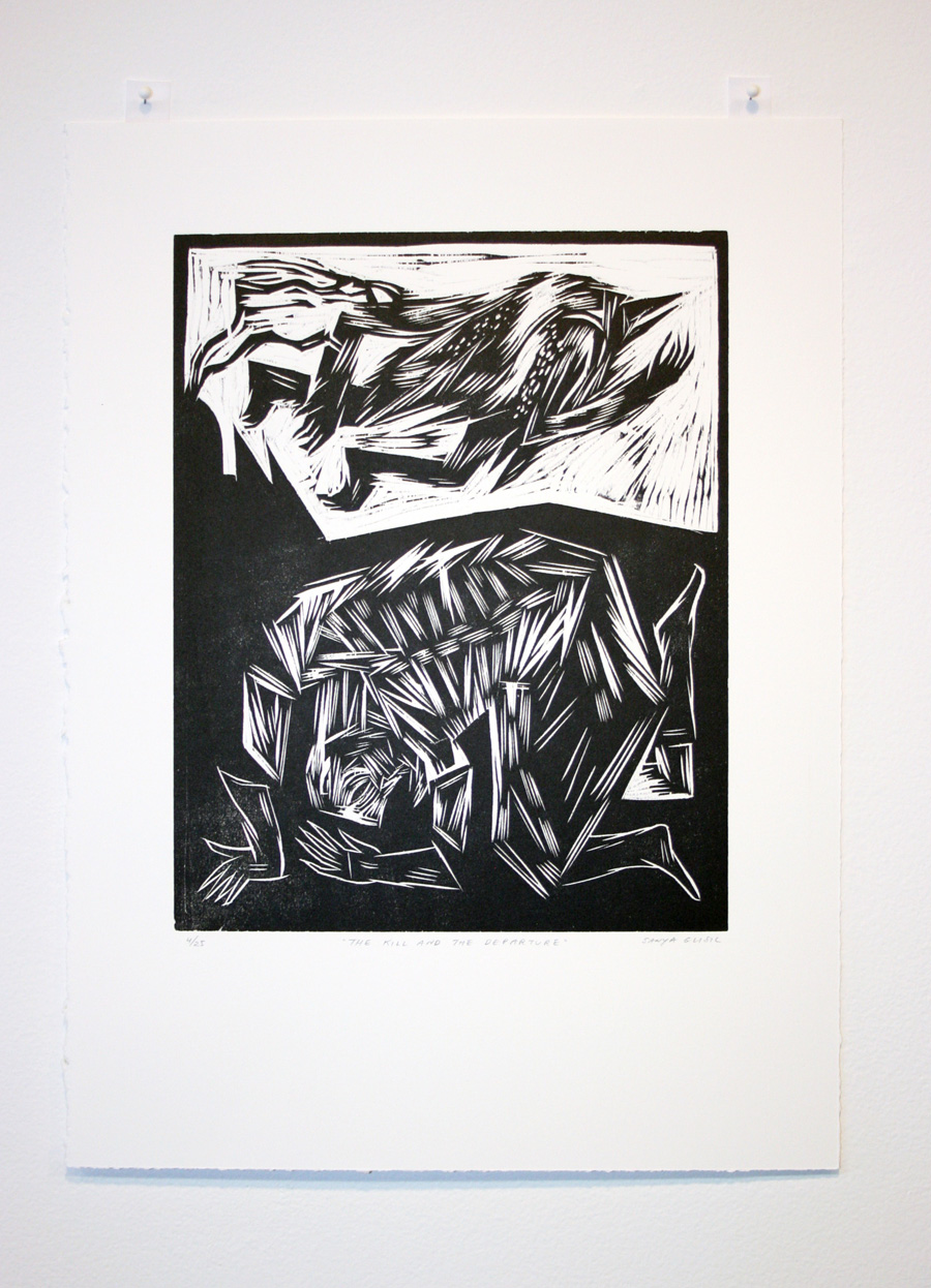 man is not a bird woodcut relief prints