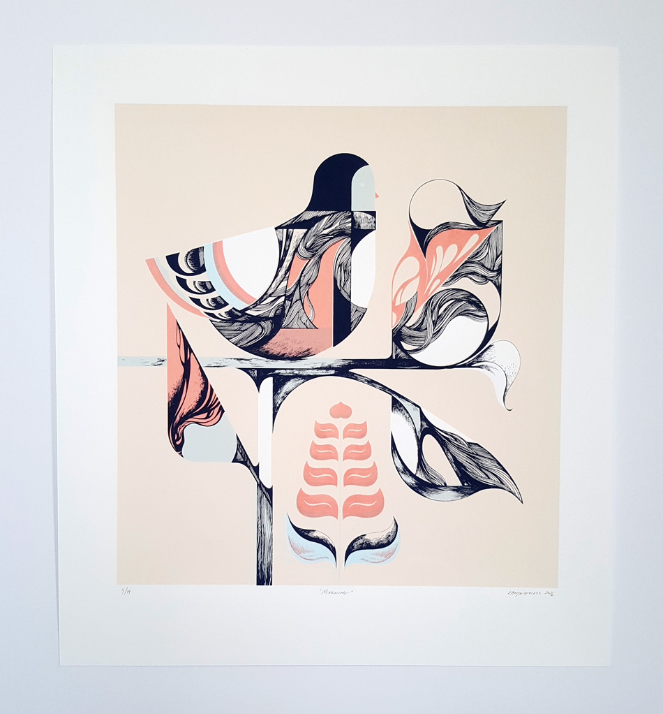 morning bird original screenprint